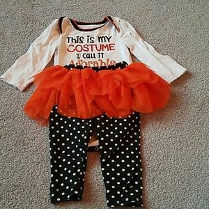 Long sleeve onesie and pants with tutu set